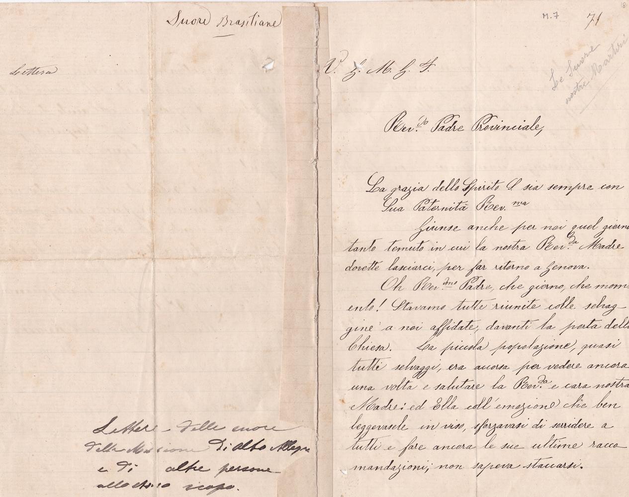 Lettera del gruppo delle missionarie 08.10.1899 recto
