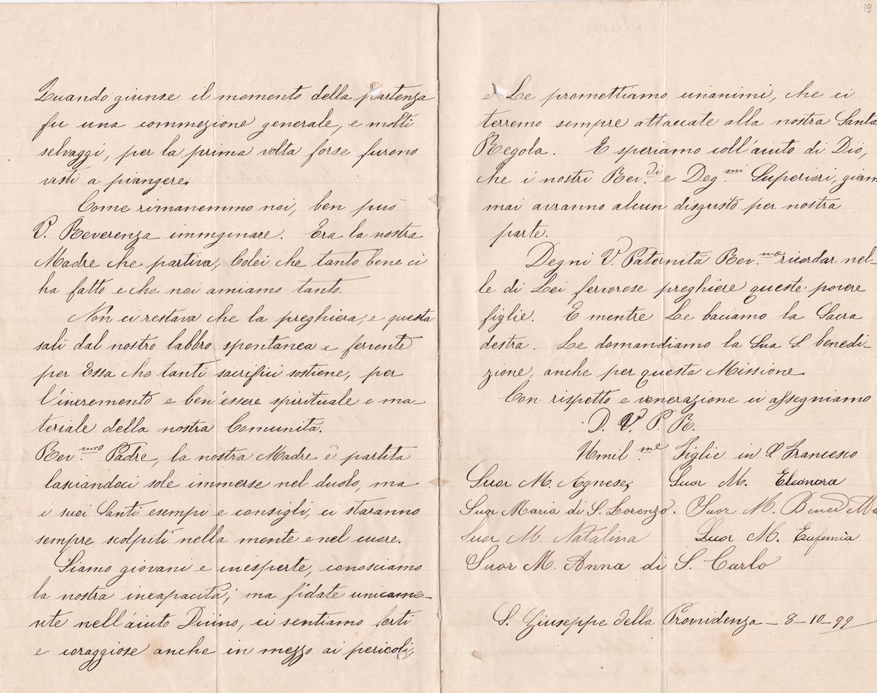 Lettera del gruppo delle missionarie 08.10.1899 verso