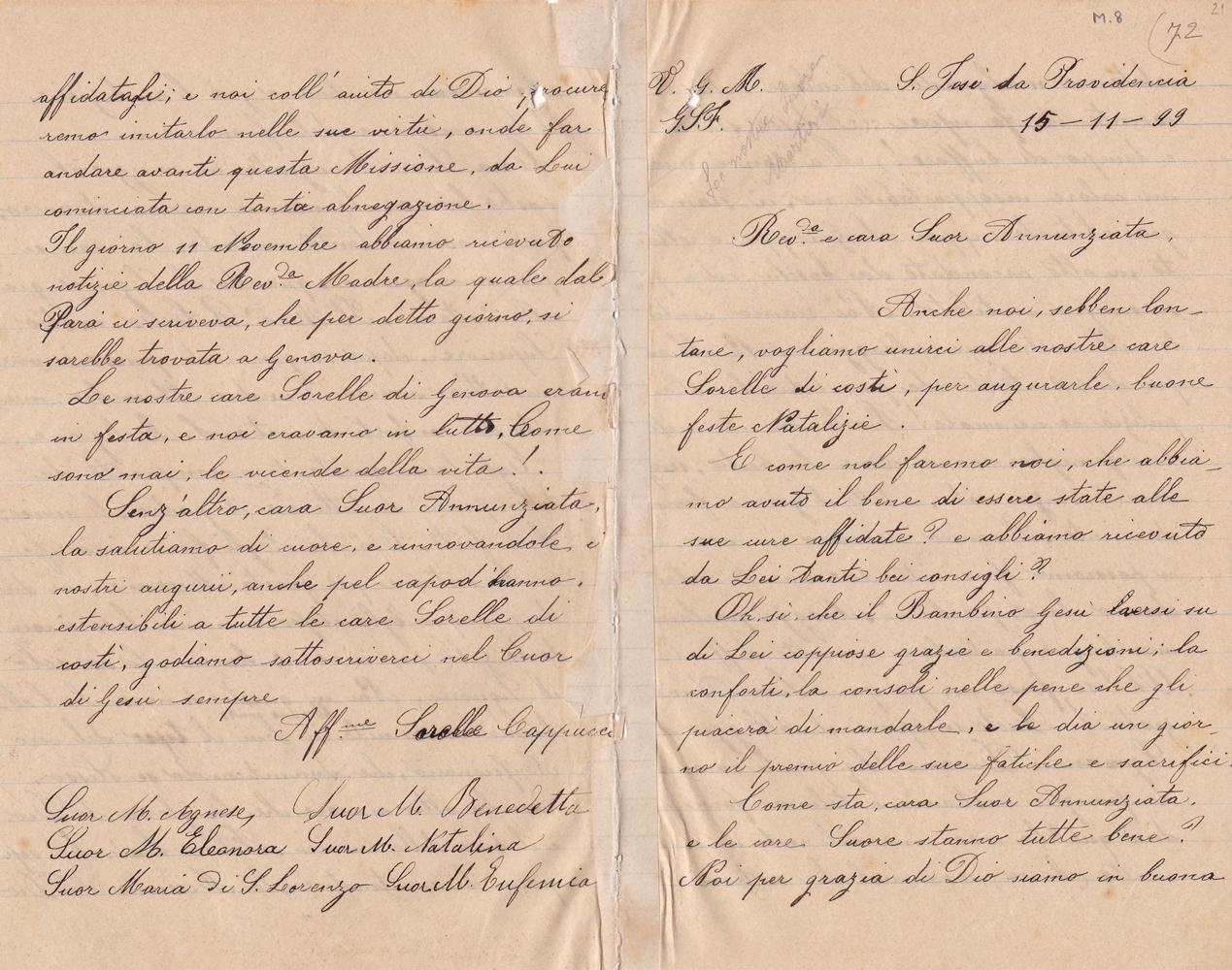 Lettera del gruppo delle missionarie 15.11.1899 recto
