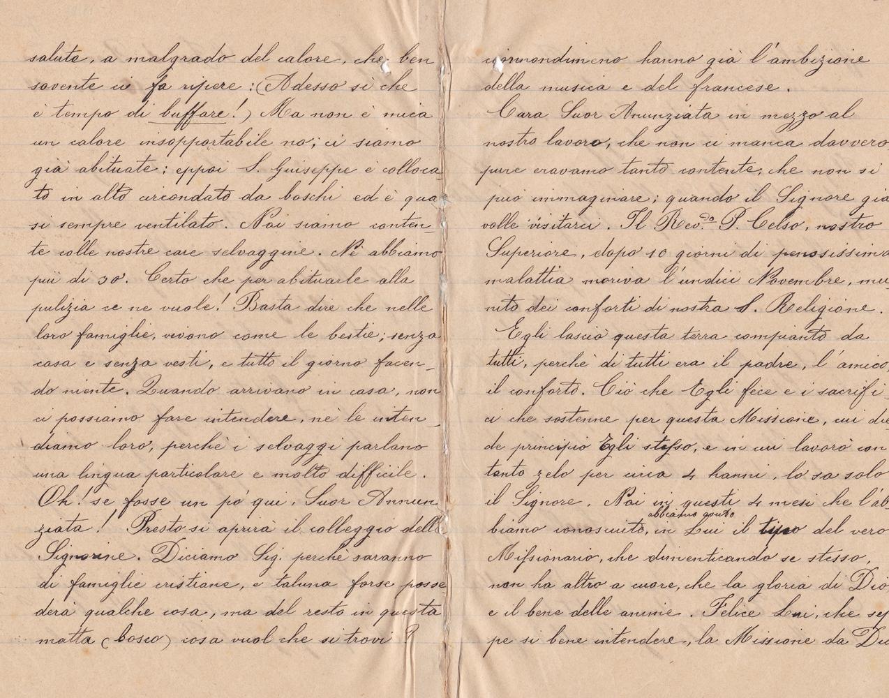 Lettera del gruppo delle missionarie 15.11.1899 verso