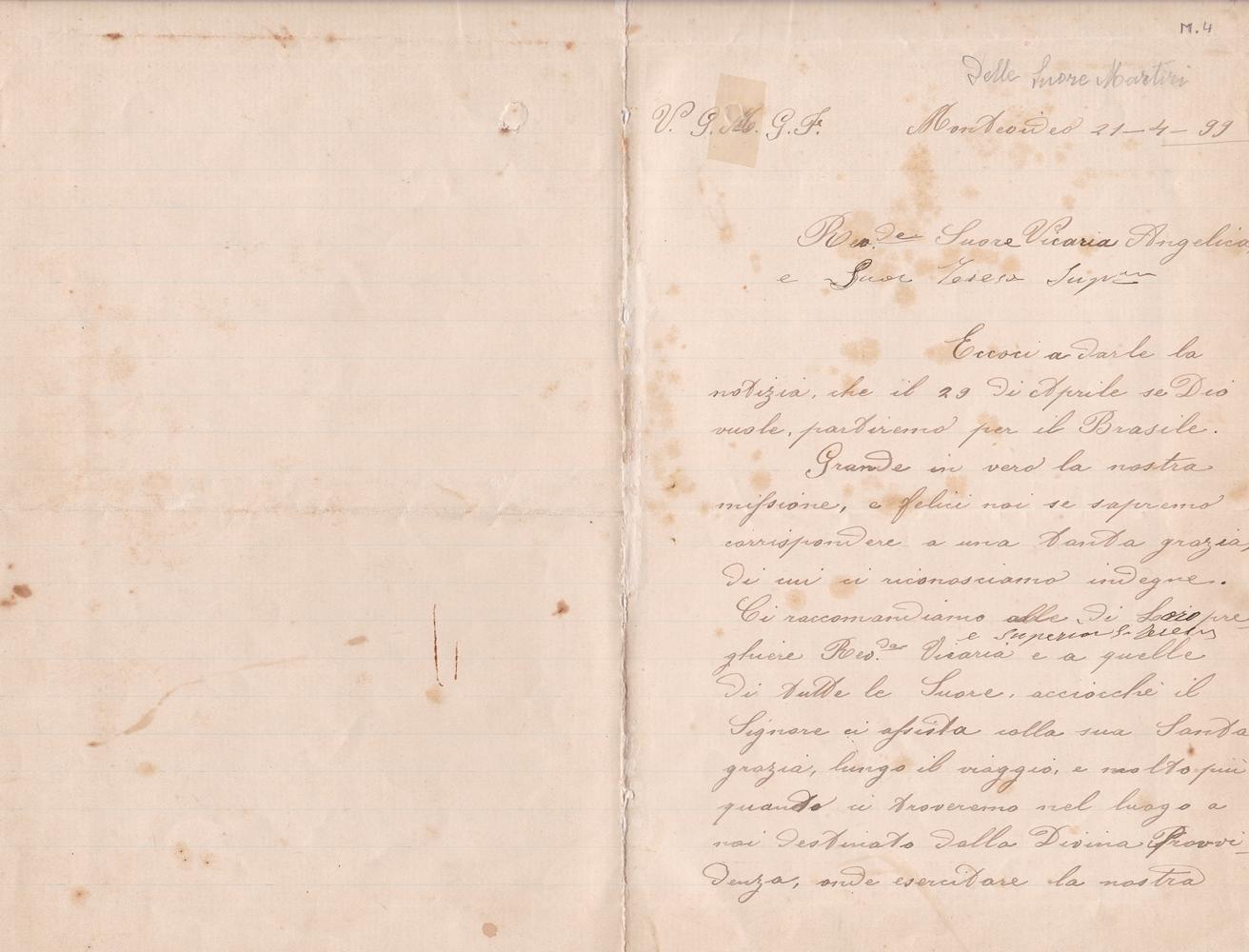 Lettera del gruppo missionario del 21 aprile 1899 recto