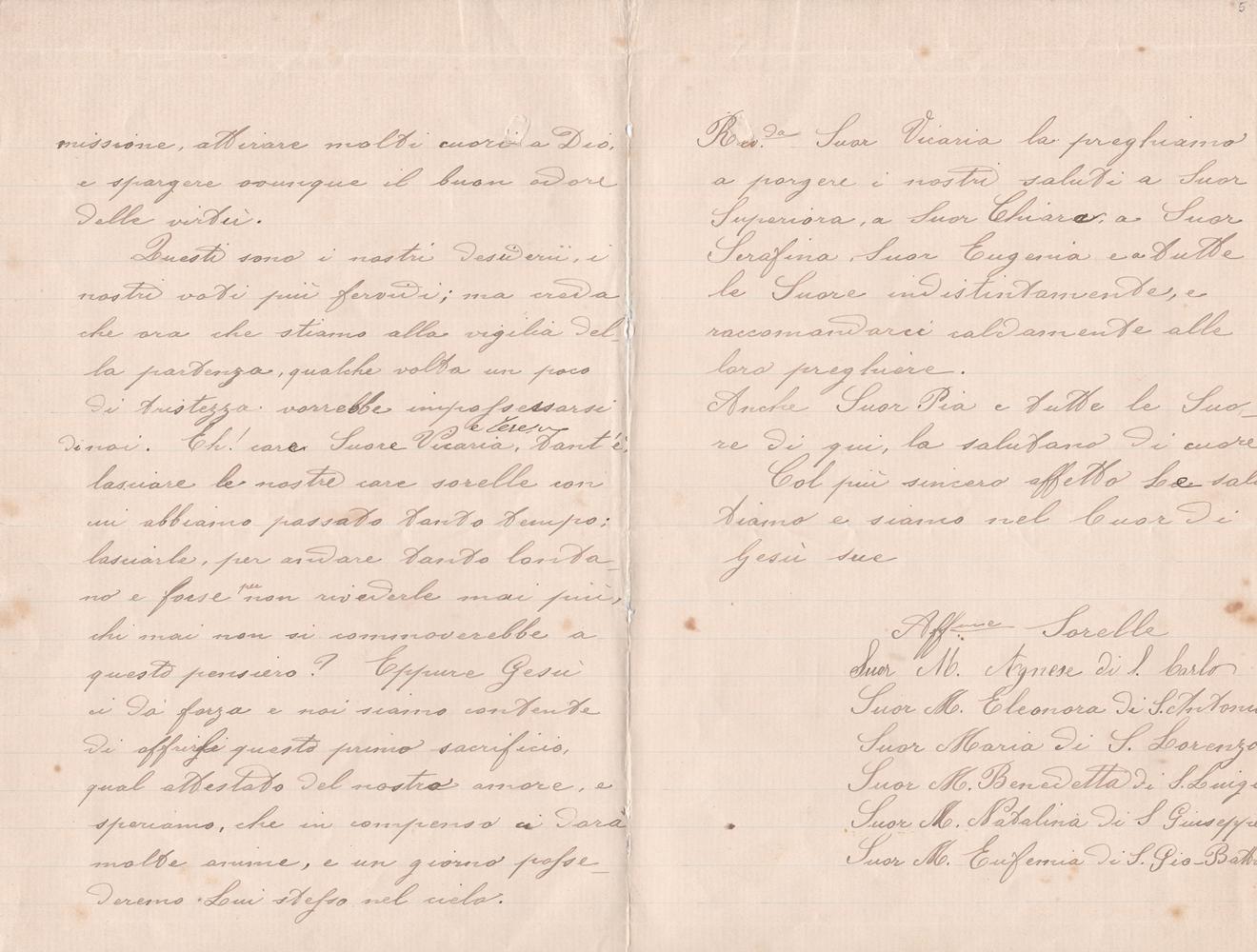 Lettera del gruppo missionario del 21 aprile 1899 verso