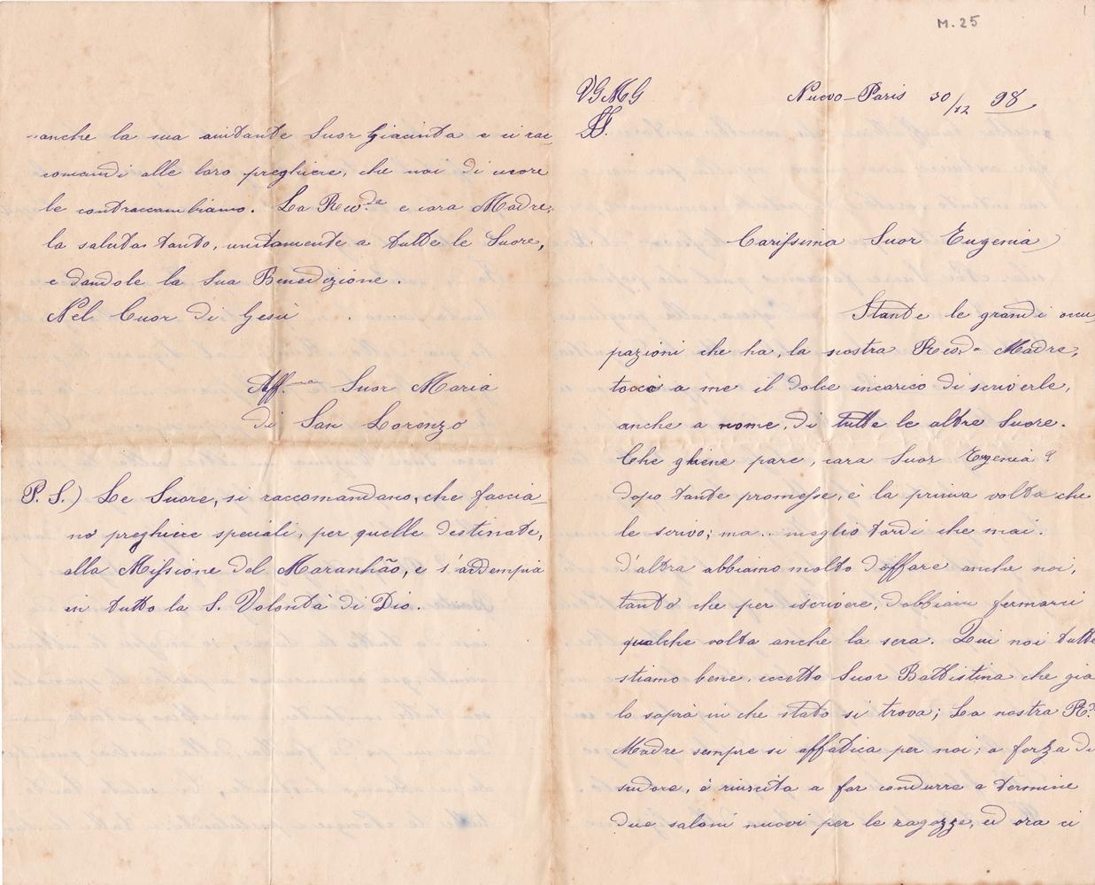 Lettera a sr. Eugenia del 30 dicembre 1898 recto