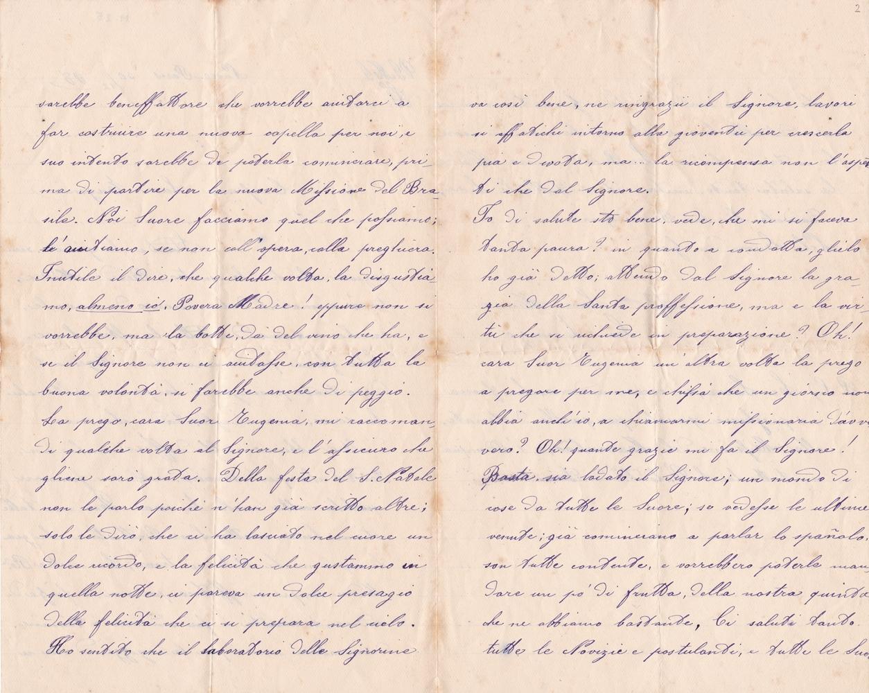 Lettera a sr. Eugenia del 30 dicembre 1898 verso