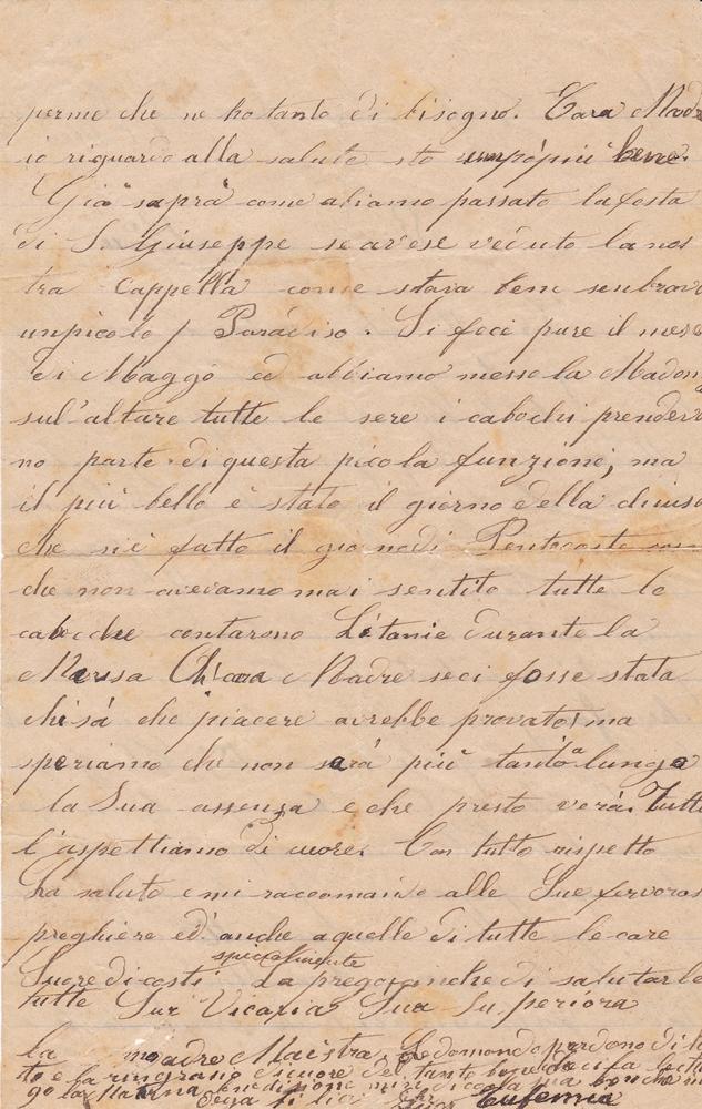 Lettera del 5 giugno 1900 verso