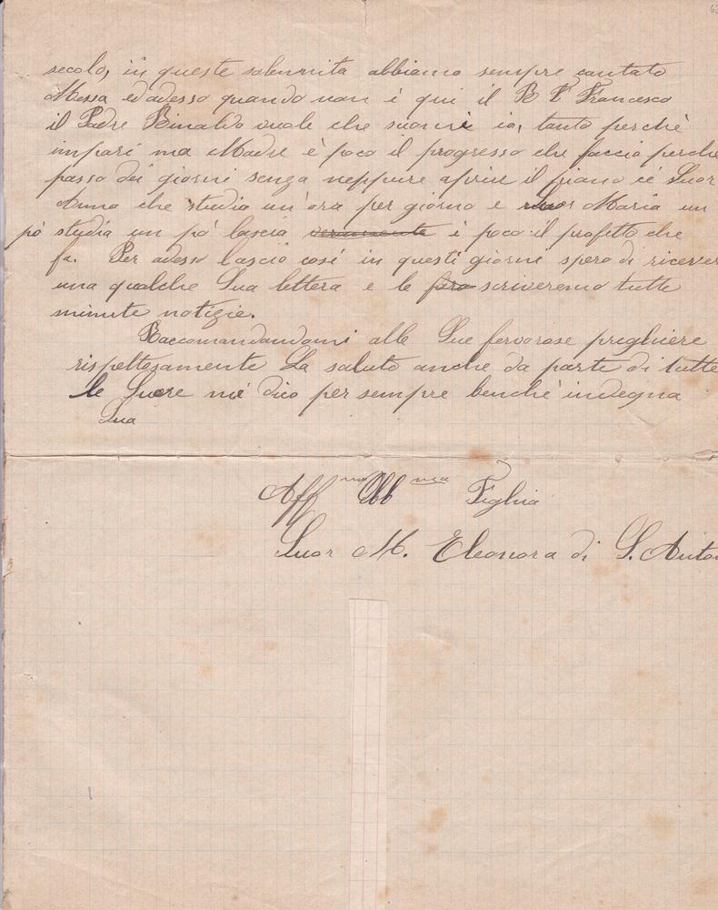 Lettera del 10 gennaio 1901 3^ parte