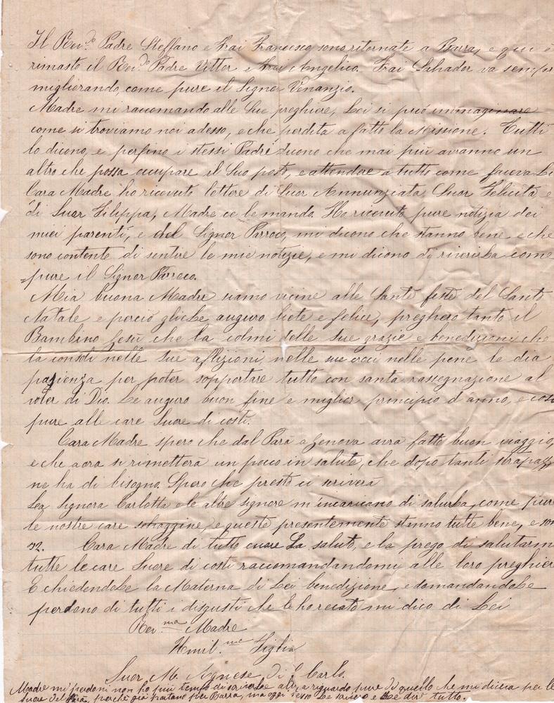 Lettera del 13 novembre 1899 verso