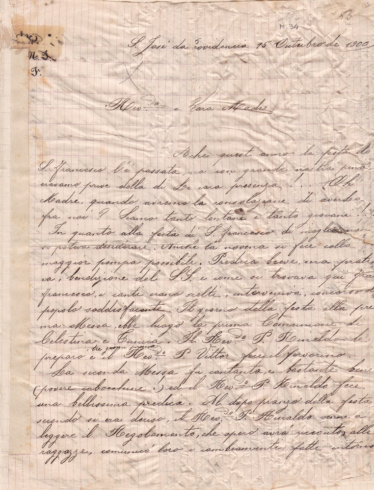 Lettera del 15 ottobre 1900 recto