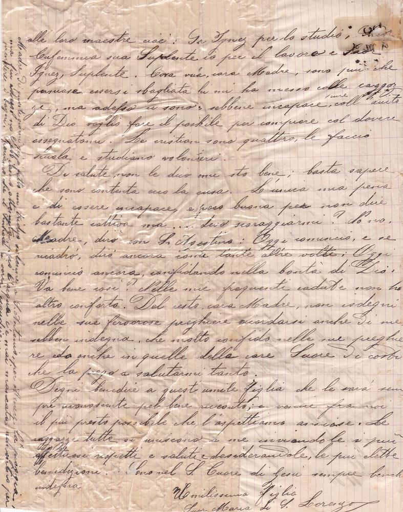 Lettera del 15 ottobre 1900 verso