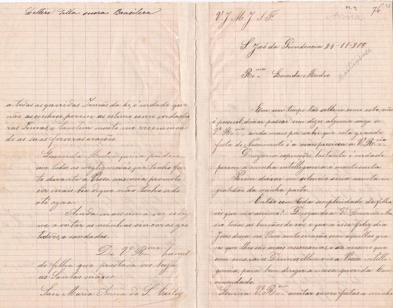 Lettera del 24 novembre 1900 recto