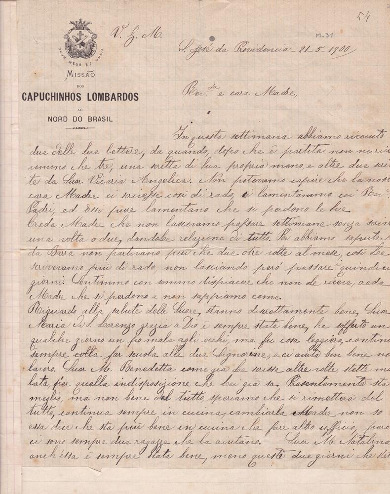 Lettera del 21 maggio 1900 1^ parte