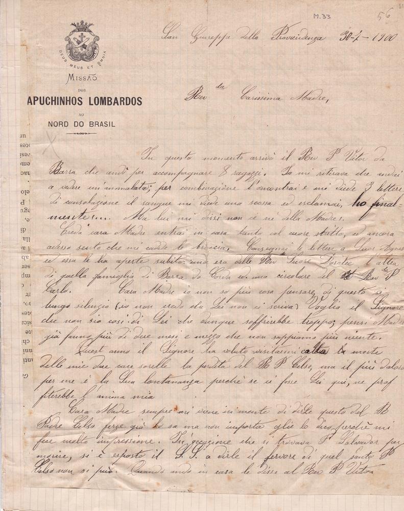 Lettera del 30 luglio 1900  recto