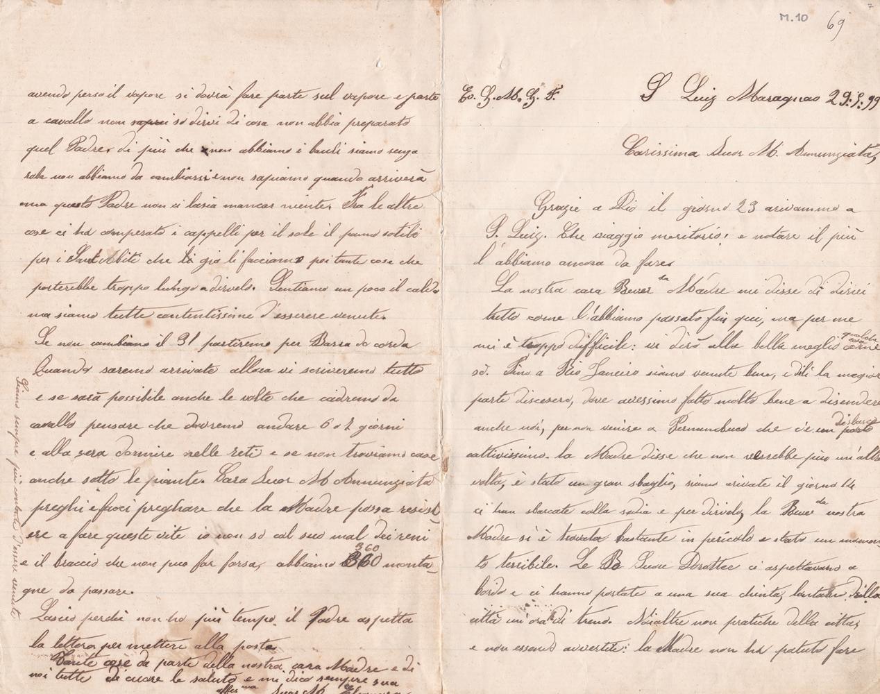 Lettera del 29 maggio 1899 recto