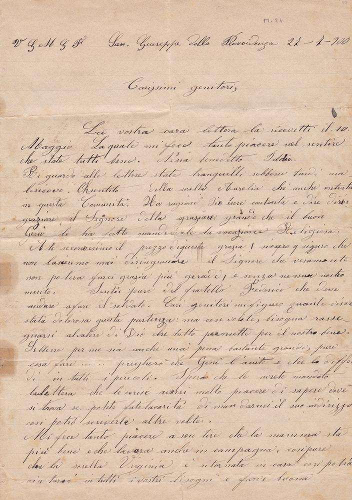 Lettera ai genitori del 27.07.1900 1^ parte