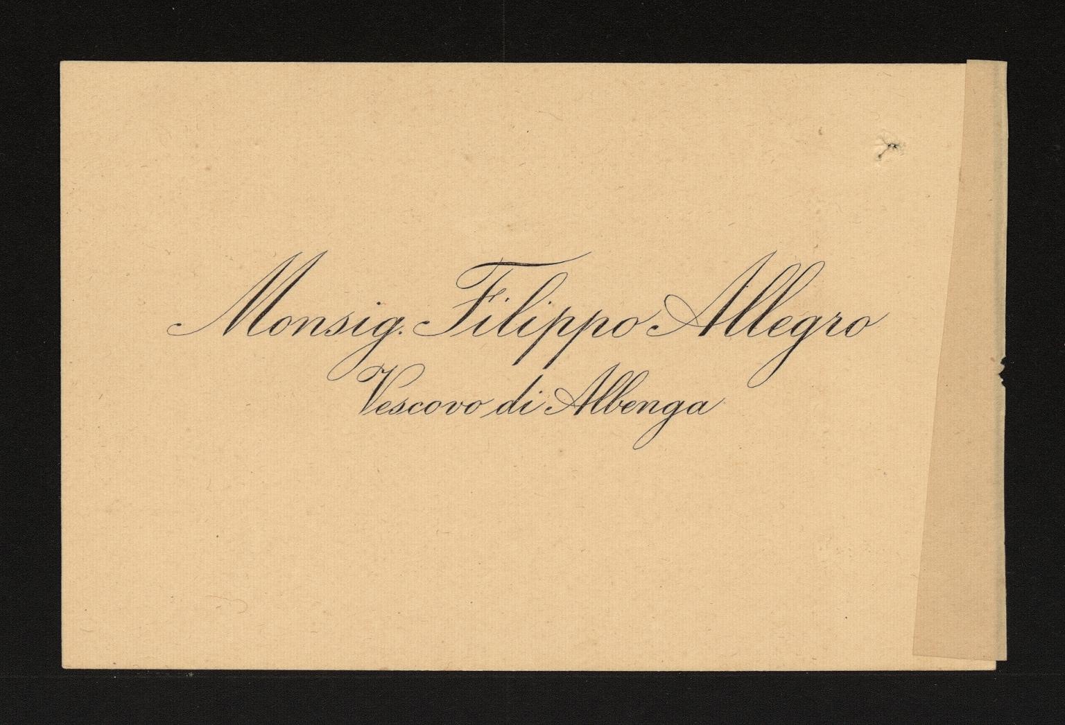 Biglietto Mons. Filippo Allegro v