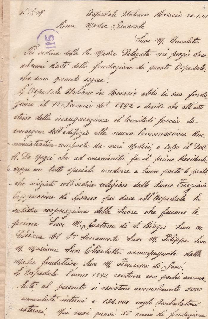 Lettera sr. M. Onorata di S. Silvestro (Rosario, 20 gennaio 1941) 1