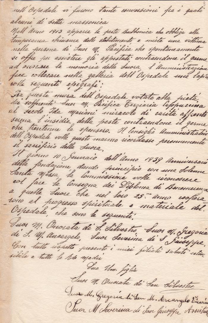Lettera sr. M. Onorata di S. Silvestro (Rosario, 20 gennaio 1941) verso